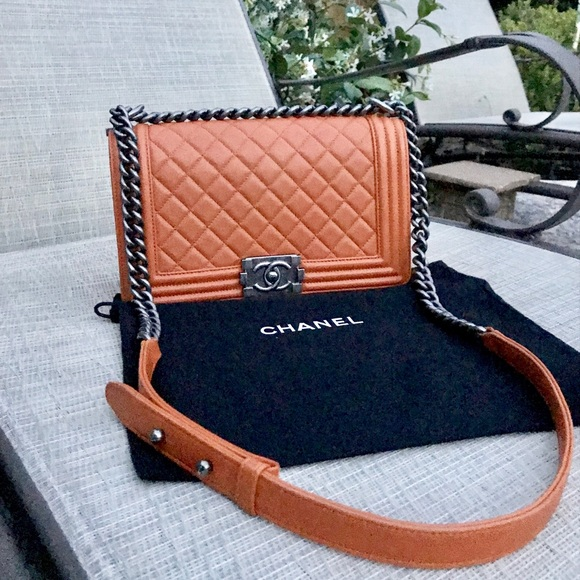 c4b5d7a16305 NEW Chanel Orange Lambskin Leather Medium Boy Bag